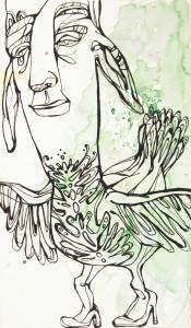 JESSIKA 'Tomtidom' 38 x 22 cm Indian Ink Aquarel Paper