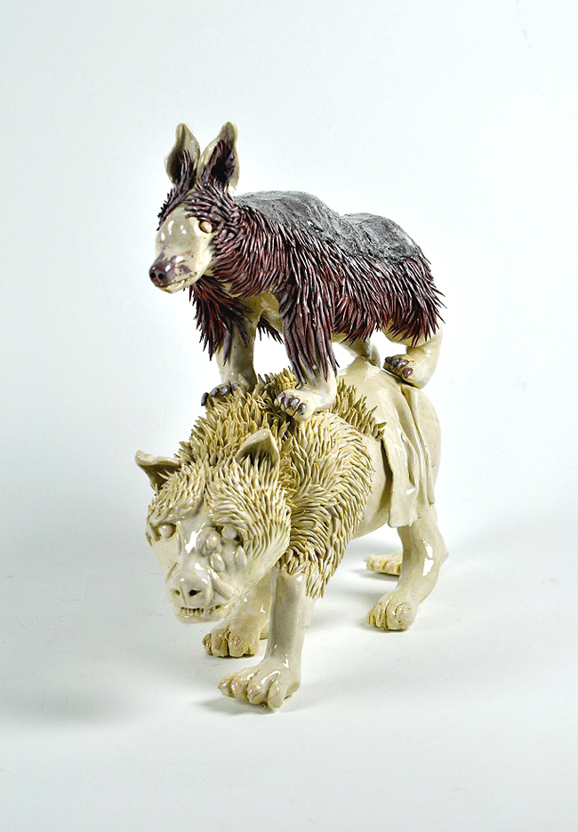 DagmardeKok_proud hyena and crafty jackal1_ceramics_glaze_30x40x15_2014_RGB