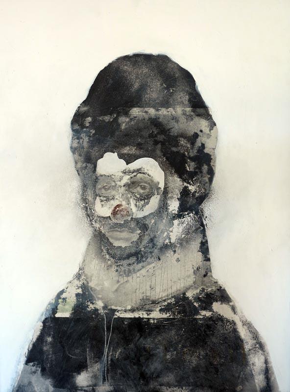 Jeroen Blok selfportrait mixed media 60 x 80 cm